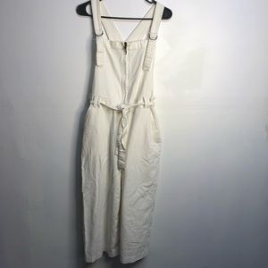 Free people white zip front overalls size Medium